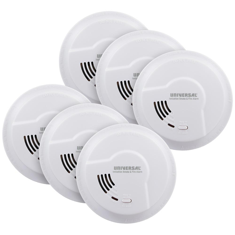 6 Pack Bundle of Universal Security Instruments Quick Change Battery-Operated Ionization Smoke & Fire Alarm (976LR)