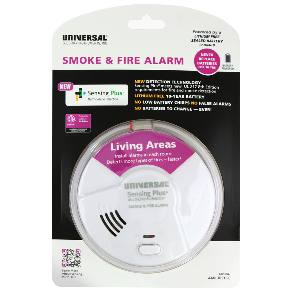 Universal Security Instruments Sensing Plus Multi Criteria Living Area Smoke & Fire Alarm With 10 Year Tamper Proof Sealed Battery (AMIL3051SC)