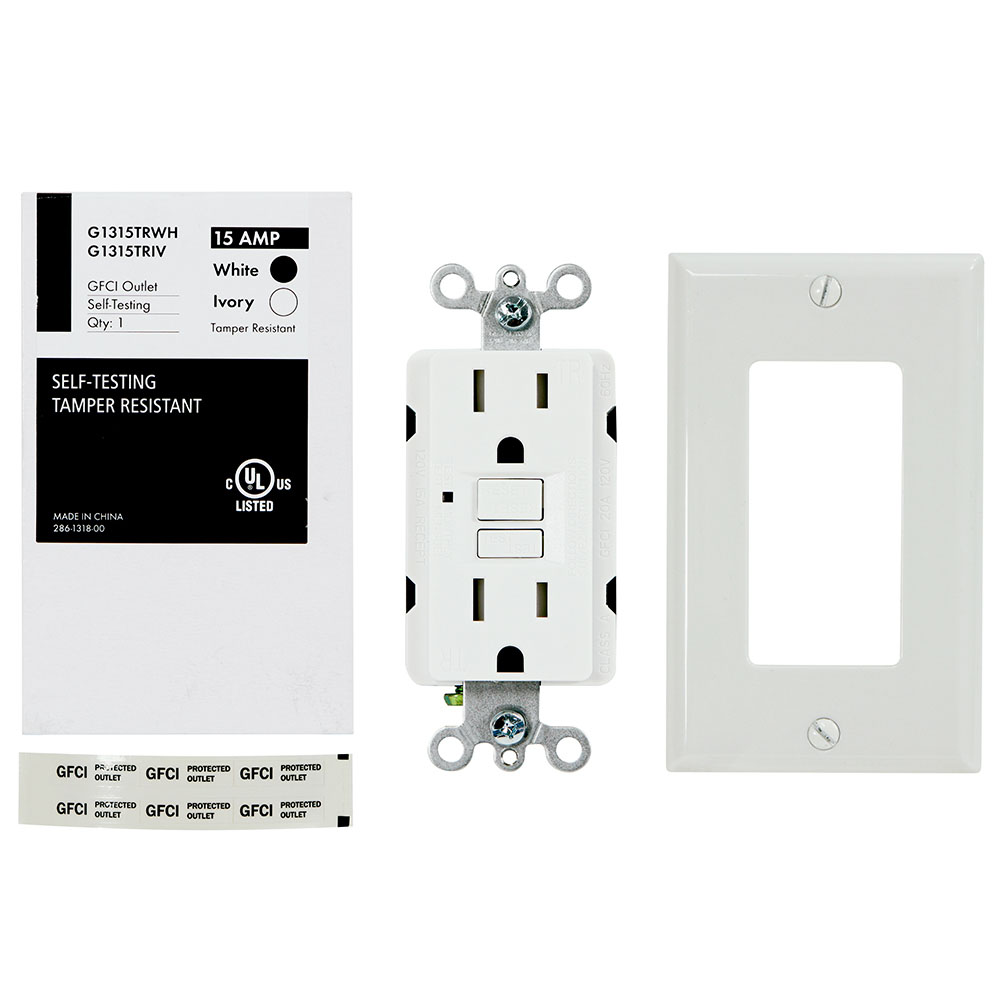USI Electric 15 Amp Self Test GFCI Tamper-Resistant Receptacle Duplex Outlet, White - G1315TRWH