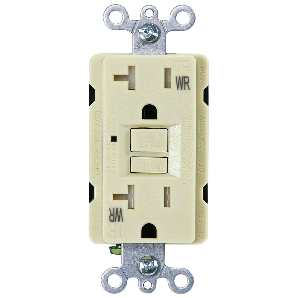 USI Electric 20 Amp Self Test GFCI Weather & Tamper Resistant Receptacle Duplex Outlet, Ivory - G1420TWRIV