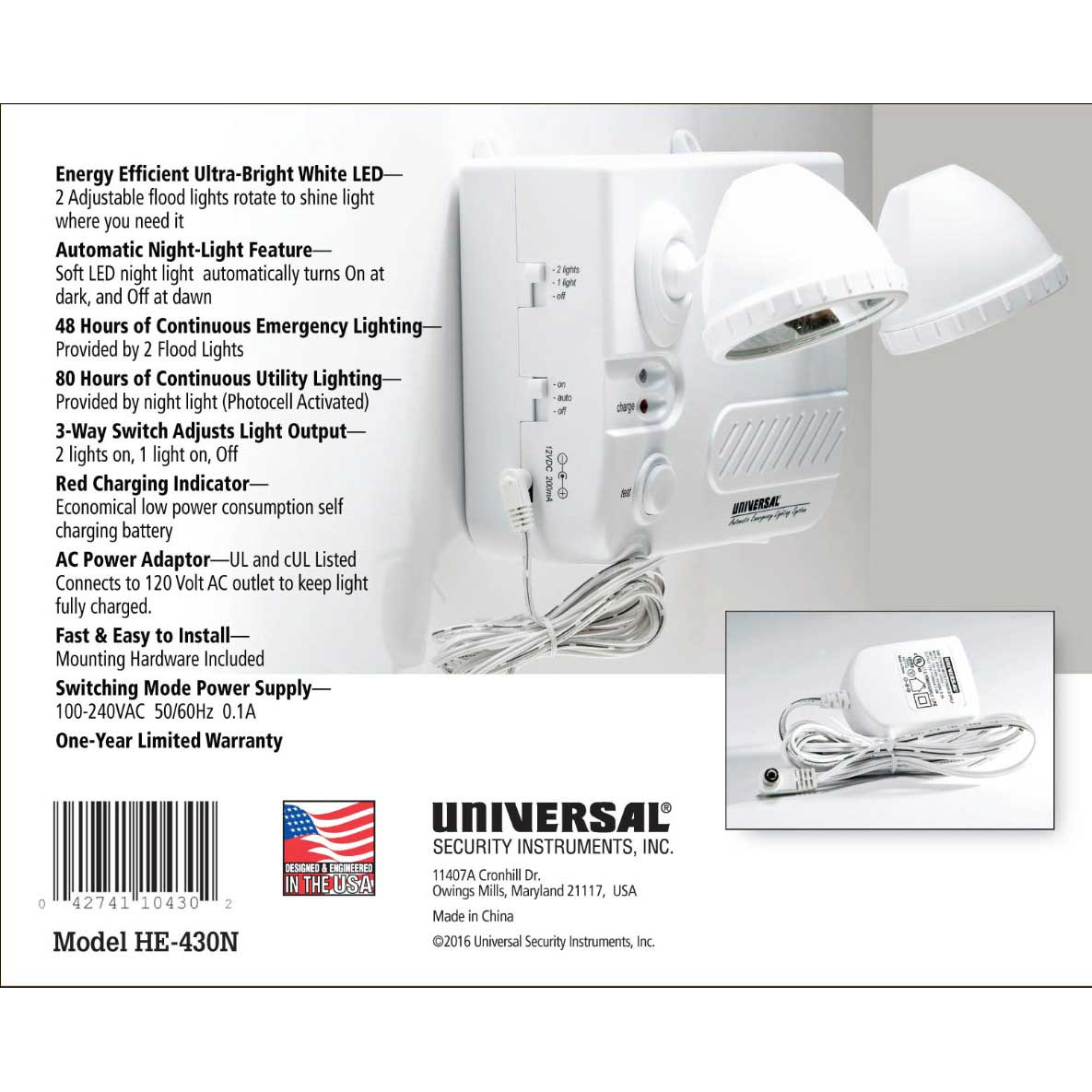 USI Automatic Emergency Lighting System with Variable Brightness Night Light (HE-430N)