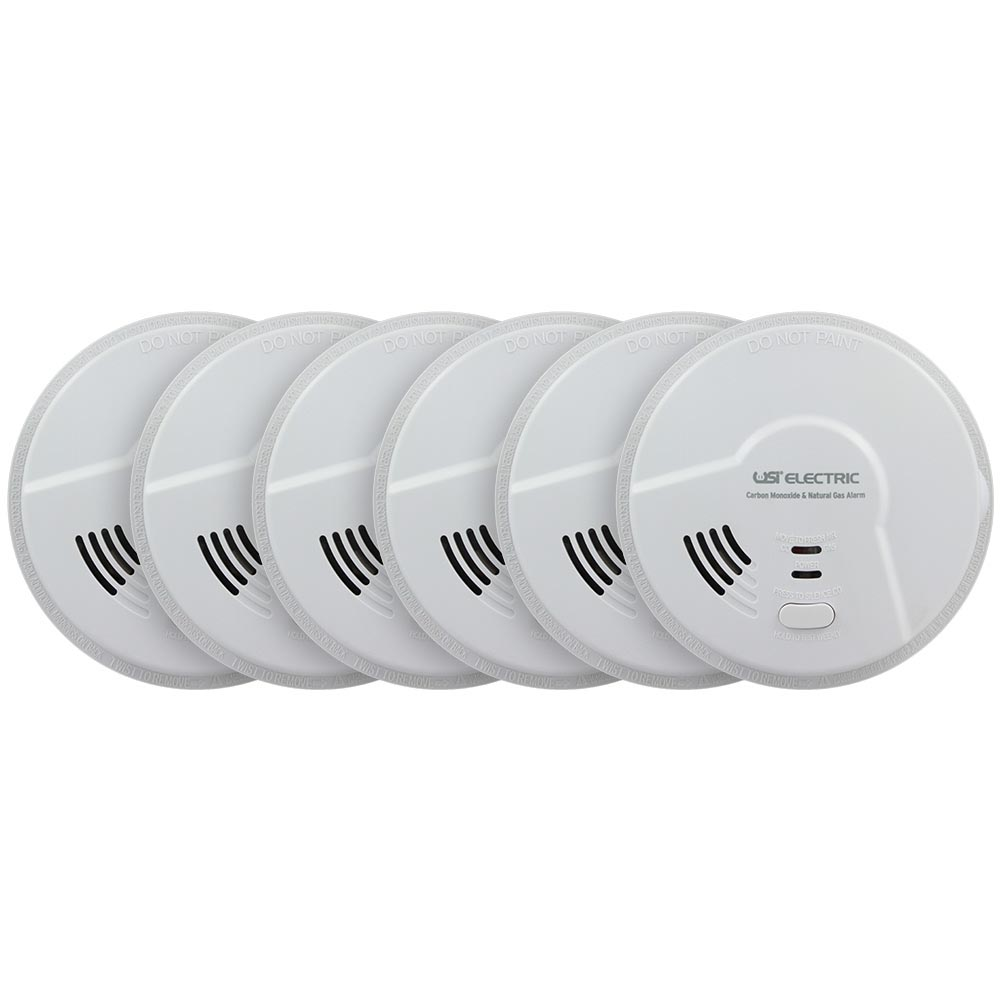 6 Pack Bundle of USI Electric Hardwired 2-in-1 Carbon Monoxide and Natural Gas Smart Alarm with Battery Backup (MCN108)
