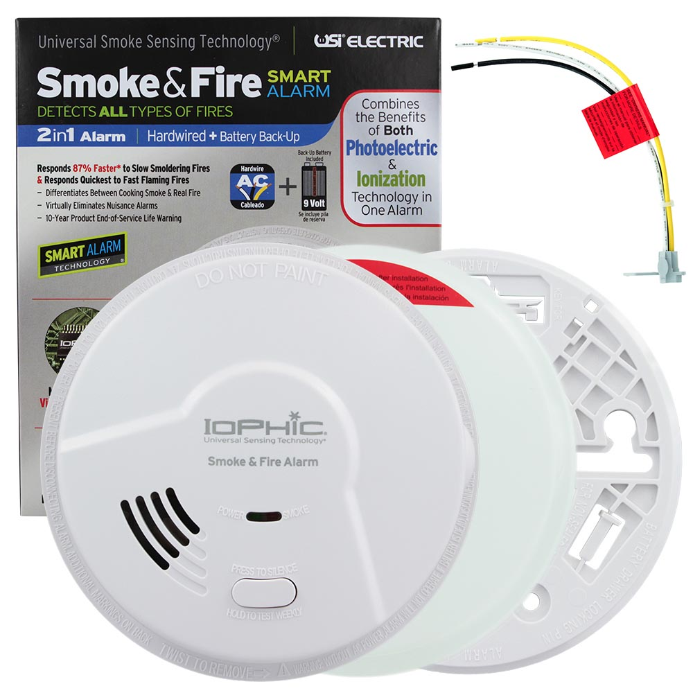 USI Electric Hardwired 2-in-1 Universal Smoke Sensing Smoke and Fire Alarm with Battery Backup (MDS107)