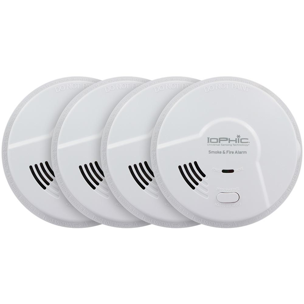 4 Pack Bundle of USI Electric Hardwired 2-in-1 Universal Smoke Sensing Smoke and Fire Alarm with Battery Backup (MDS107)