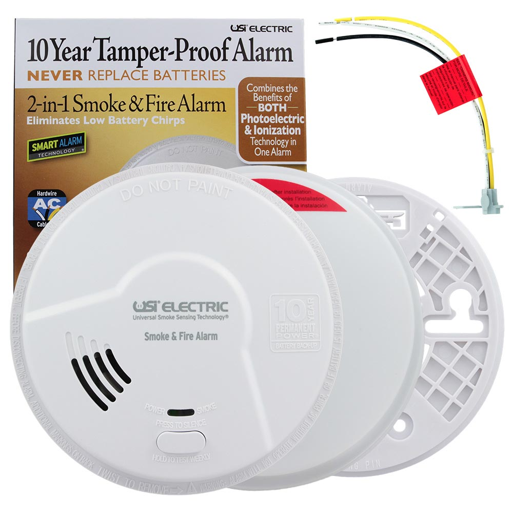 USI 2-in-1 Hardwired Smoke & Fire Smart Alarm with 10 Year Sealed Battery & Universal Smoke Sensing Technology (MI106S)