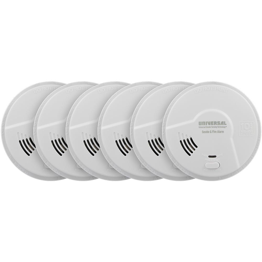 6 Pack Bundle of USI Bedroom 2-in-1 Smoke and Fire Smart Alarm with 10 Year Sealed Battery & Universal Smoke Sensing Technology (MIB3050S)