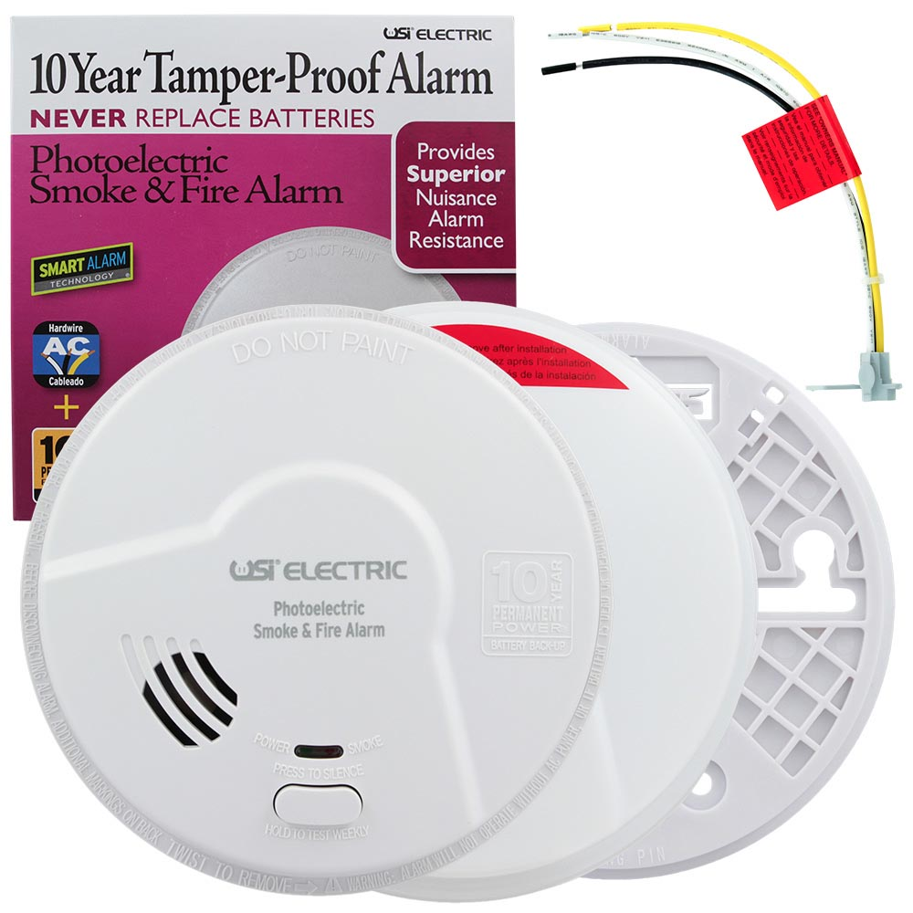 USI Hardwired 10 Year Tamper Proof Permanent Power Sealed Battery Photoelectric Smoke & Fire Smart Alarm (MP116S)