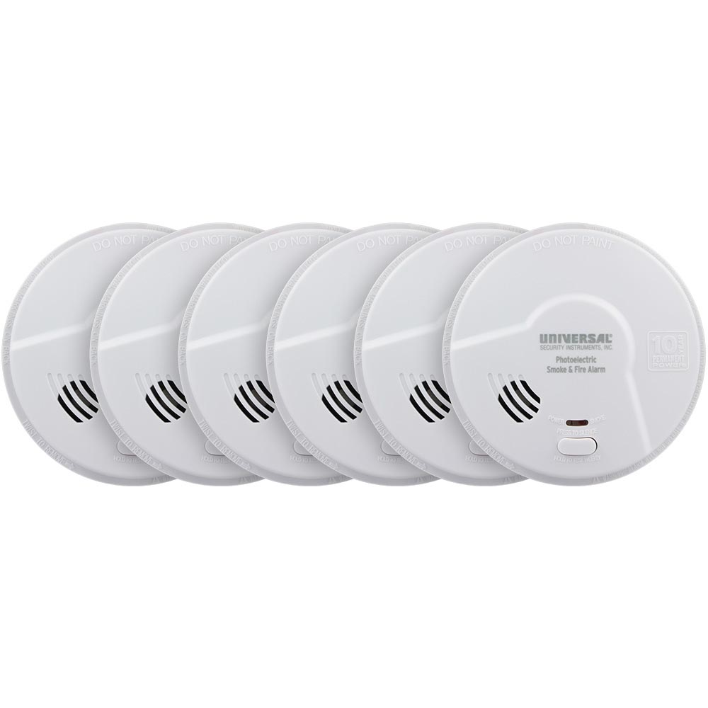 6 Pack Bundle of USI Living Area 10 Year Tamper Proof Permanent Power Sealed Battery Photoelectric Smoke & Fire Smart Alarm (MP316SB)