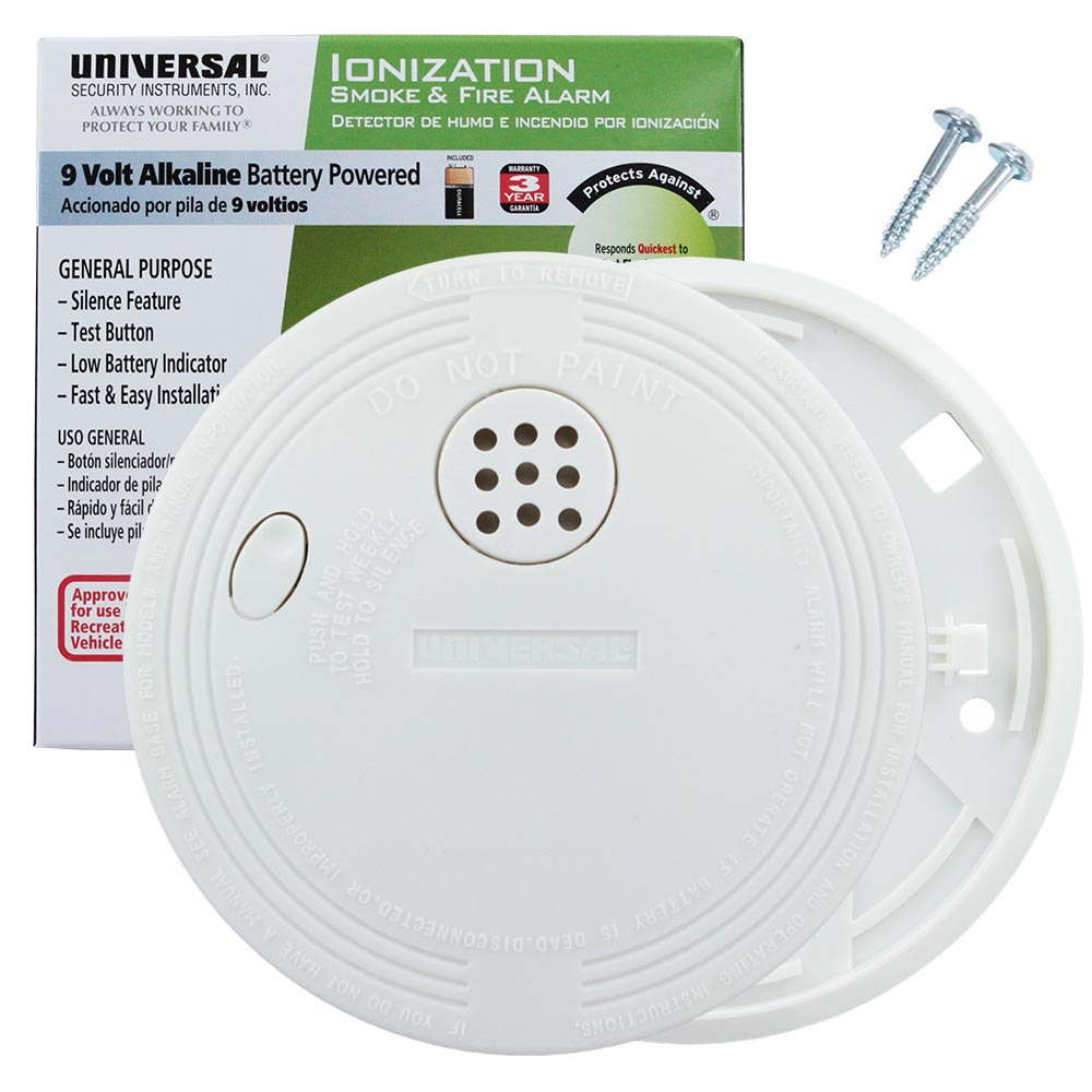 Universal Security Instruments Battery-Operated Ionization Smoke and Fire Alarm Approved For Recreational Vehicles (SS-775-12CC)