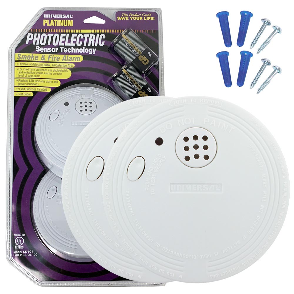 Bundle of Three Universal Security Instruments Battery-Operated Photoelectric Smoke and Fire Alarm, 2-Packs (SS-901-2C/3CC)