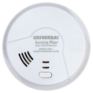 Universal Security Instruments Sensing Plus Multi Criteria Combination Smoke, Fire & Carbon Monoxide Alarm With 10 Year Tamper Proof Sealed Battery (AMIC3511SB)