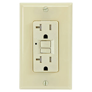 USI Electric 20 Amp GFCI Receptacle Duplex Outlet, Ivory - G1320TRIV