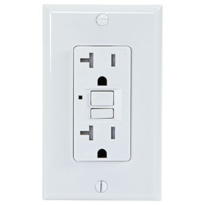 USI Electric 20 Amp Self Test GFCI Tamper-Resistant Receptacle Duplex Outlet, White - G1320TRWH