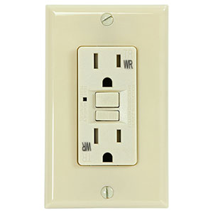 USI Electric 15 Amp GFCI Weather Resistant Receptacle Outlet, Ivory - G1415TWRIV