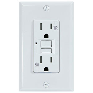 USI Electric 15 Amp GFCI Weather Resistant Receptacle Outlet, White - G1415TWRWH