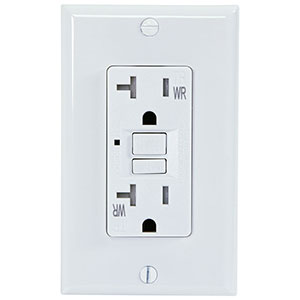 USI Electric 20 Amp Self Test GFCI Weather & Tamper Resistant Receptacle Duplex Outlet, White - G1420TWRWH