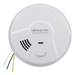 USI Electric Hardwired Ionization Smoke and Fire Alarm with Battery Backup MI106